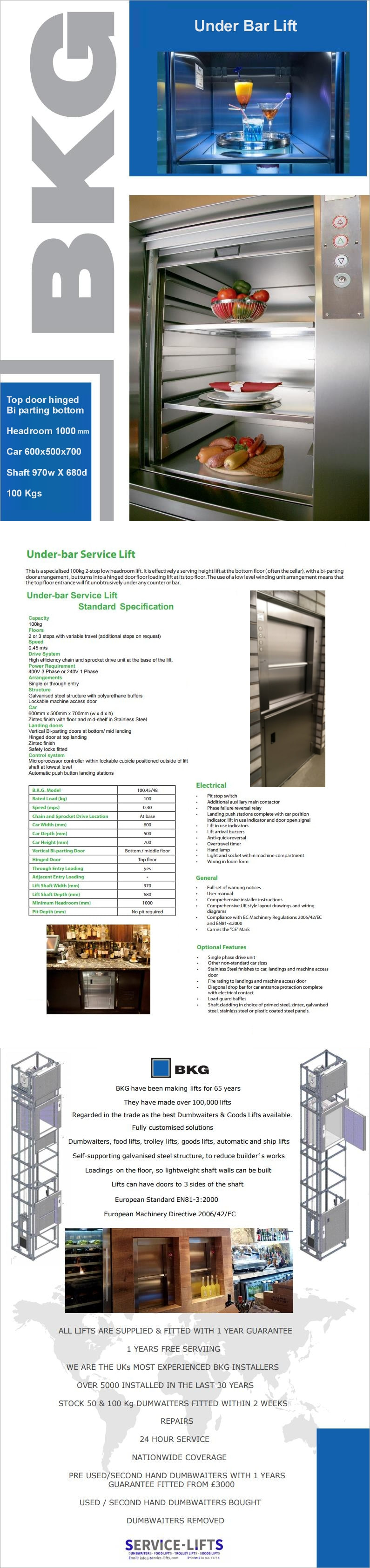 DRAWINGS & BROCHURES - Service Lifts
